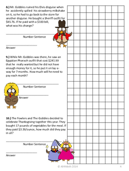 Thanksgiving Math: The Gobbles & The Fowlers in Disguise 4th -6th Grade