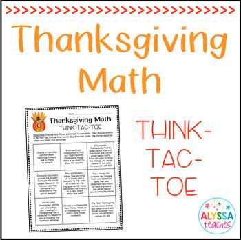Thanksgiving Math Think-Tac-Toe