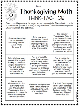 Think-Tac-Toe - Thanksgiving Math