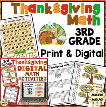 3rd Grade Thanksgiving Math: 3rd Grade Math Games, Scoot, and Problem Solving