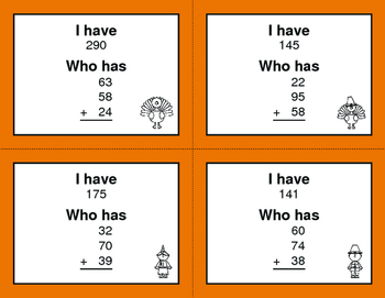 Thanksgiving Math: Three 2-Digit Addition - I Have, Who Has