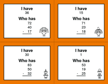 Thanksgiving Math: Three 2-Digit Subtraction - I Have, Who Has