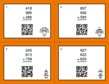 Thanksgiving Math: Three 3-Digit Addition QR Code Task Cards