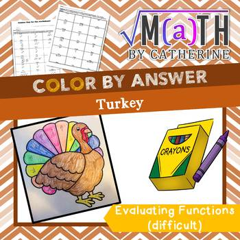 Thanksgiving Math: Turkey Color by Answer Evaluating Functions- Difficult