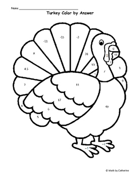 thanksgiving math turkey color by answer evaluating functions difficult - Picture Of A Turkey To Color