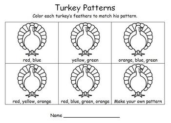 Thanksgiving Math – Turkey Patterns