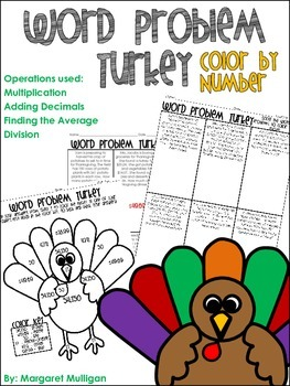 Thanksgiving Math Turkey Word Problem Color By Number