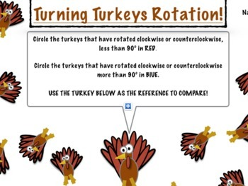 Thanksgiving Math: Turning Turkeys Rotation!