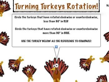 Thanksgiving Math: Turning Turkeys Rotation!