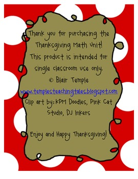 Thanksgiving Math Unit K-1