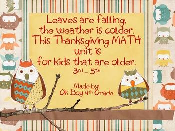 Thanksgiving Math Unit