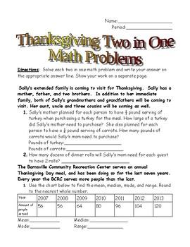 Thanksgiving Math Warmup
