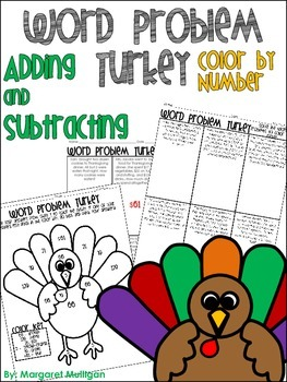 Thanksgiving Math: Word Problem color by number Adding and Subtracting