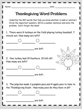 Thanksgiving Math Word Problems - 2nd Grade