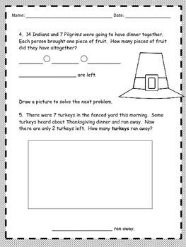Thanksgiving Math Word Problems - 2nd Grade