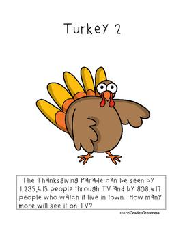Thanksgiving Math Word Problems Activity:  Grades 4-6