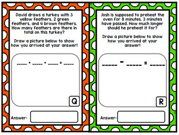 Thanksgiving Math Word Problems - Addition - Subtraction - Special Education