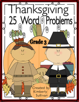 Fall Thanksgiving Math Word Problems Centers Grade 3