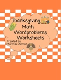Thanksgiving Themed First Grade Math Word Problems with Pictures :