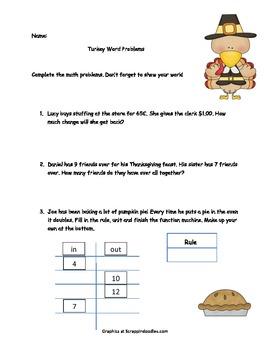 Thanksgiving Math Word Problems- Grades1-3