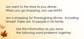 Thanksgiving Math Word Problems Interactive Whole Group
