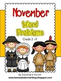 Math Word Problems for November - Grades 2 - 3
