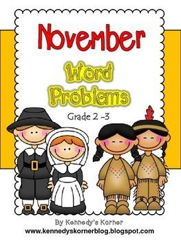 Math Word Problems for November - Grades 2 - 3