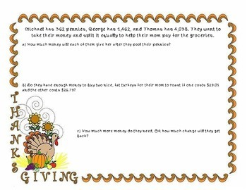 Thanksgiving Math: Word Problems Packet!