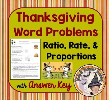 Thanksgiving Math Word Problems with Answer KEY Ratio, Rate, Proportions
