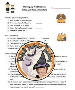 Thanksgiving Math Word Problems with Answer KEY Ratio, Rate, Proportions Holiday