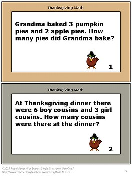 Thanksgiving Math Word Problems for Early Learners