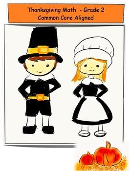 Thanksgiving Math Workbook - Grade 2 - Common Core Aligned