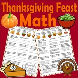 Thanksgiving Math Worksheet * Adding & Subtracting Money * Lined Paper