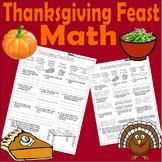 Thanksgiving Feast Math Worksheet * Adding & Subtracting Money * Word Problems