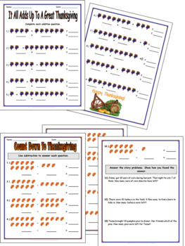 Thanksgiving Math Worksheets by TchrBrowne | Teachers Pay ...