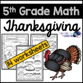 Thanksgiving Math Worksheets 5th Grade Common Core