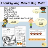 Thanksgiving Math: Worksheets, Activities, Counting, Puzzles, Tens Frames