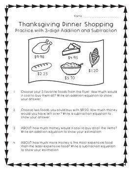 Thanksgiving Math Worksheets - Practice with 3-digit Addition and Subtraction
