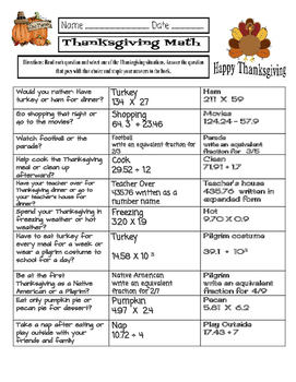 Thanksgiving Math - Would You Rather