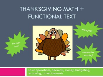 Thanksgiving Math and Functional Text