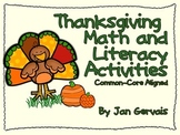 Thanksgiving Math and Literacy Activities Common Core Aligned