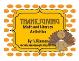 Thanksgiving Math and Literacy Activities for Fall and Bulletin Board Display