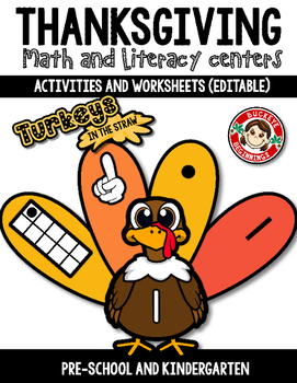 Thanksgiving Math and Literacy Centers {Editable} plus worksheets