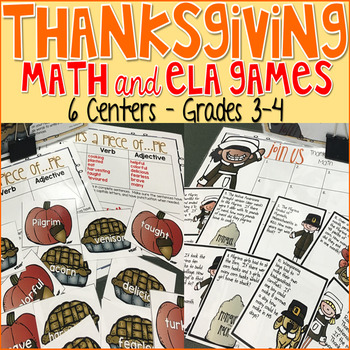 Thanksgiving Math and Literacy Centers Grade 3-4