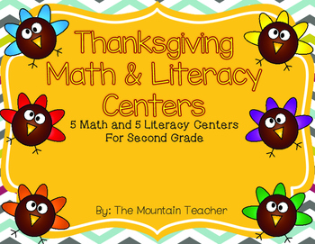 Thanksgiving Math and Literacy Centers for Second Grade