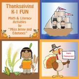 Thanksgiving Kindergarten and First Grade Math and Literac
