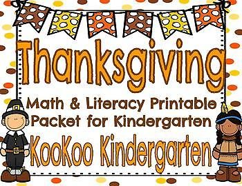 Thanksgiving Math and Literacy Printable Set for Kindergarten
