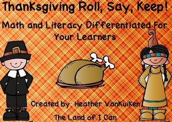 Thanksgiving Math and Literacy Roll Say Keep