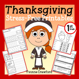 Thanksgiving NO PREP Printables - First Grade Common Core Math and Literacy