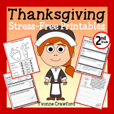 Thanksgiving NO PREP Printables - Second Grade Common Core Math and Literacy